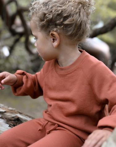 Sweatshirt i ullfrotté med vid ärm för barn