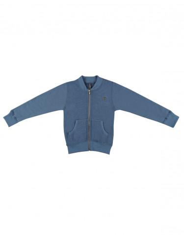 Tröja med blixtlås i ullfrotté för barn duvblå