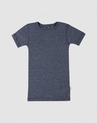Barn-t-shirt i ull/siden Blåmelerad