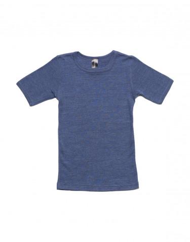 T-shirt för barn i ull/siden jeansblå