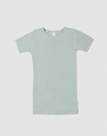 Barn-t-shirt i ull/siden pastellgrön