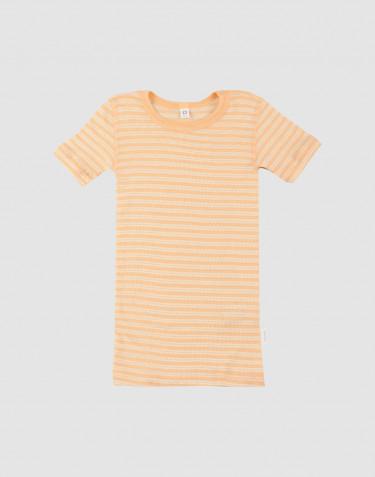T-shirt för barn i ekologisk ull/siden Aprikos/natur