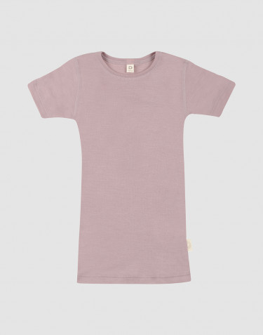Barn-t-shirt i ull/siden pastellrosa