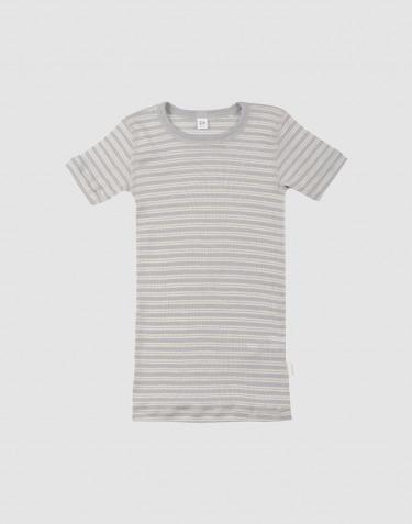 T-shirt för barn i ekologisk ull/siden Grå/natur