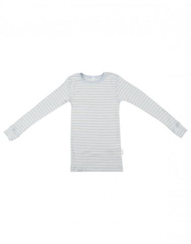 Långärmad tröja för barn i ekologisk ull/siden Blå/natur