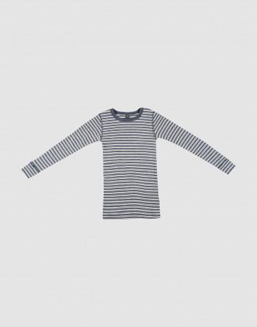 Långärmad tröja för barn i ekologisk ull/siden Blåmelerad/natur