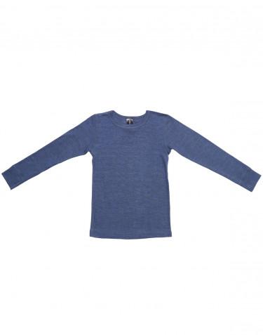 Långärmad tröja för barn i ull/siden jeansblå