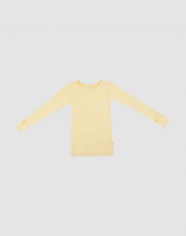 Långärmad tröja för barn i ekologisk ull/siden ljusgul/natur