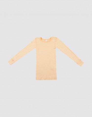 Långärmad tröja för barn i ekologisk ull/siden Aprikos/natur