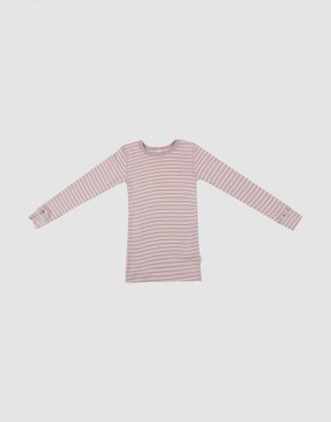 Långärmad tröja för barn i ekologisk ull/siden pastellrosa/natur