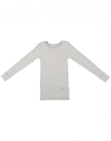 Långärmad tröja för barn i ekologisk ull/siden Grå/natur