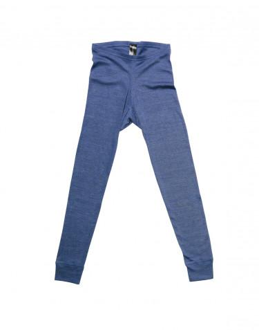 Barnleggings i ull och siden jeansblå