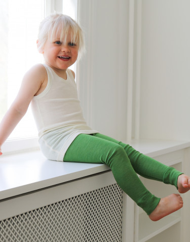 Ekologiska barnleggings i ull/siden - äppelgrön