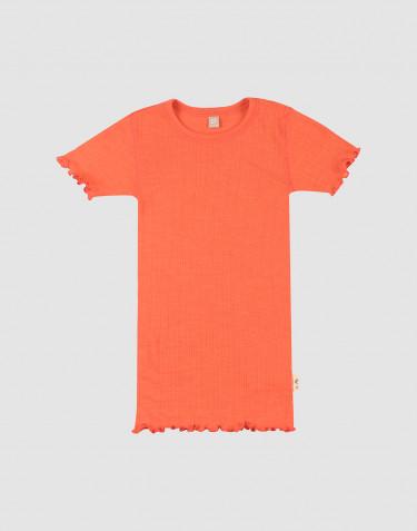 Pointelle-stickad t-shirt i merinoull/siden för barn