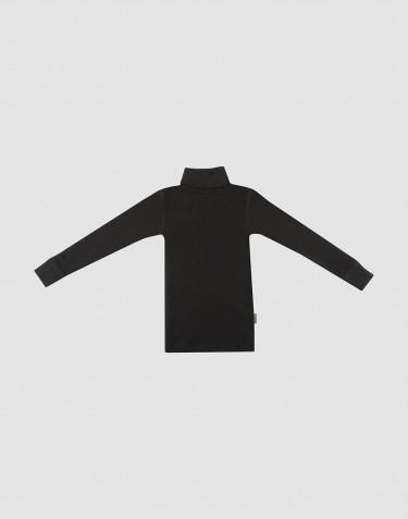 Polotröja i merinoull för barn svart