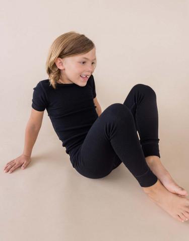 T-shirt för barn - ekologisk merinoull svart