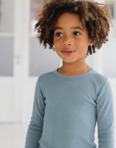 Långärmad topp i merinoull för barn