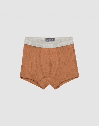 Boxershorts för pojkar i ullribb karamell