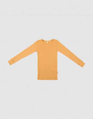 Barntröja i bred ullribb gul