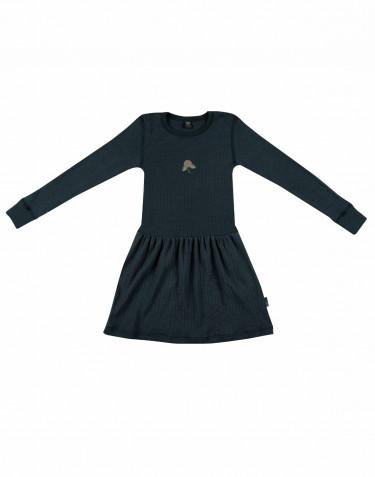 Klänning i ull i ribbstickning Mörkt petroliumblå
