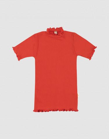T-shirt i merinoull med krusade kanter för barn