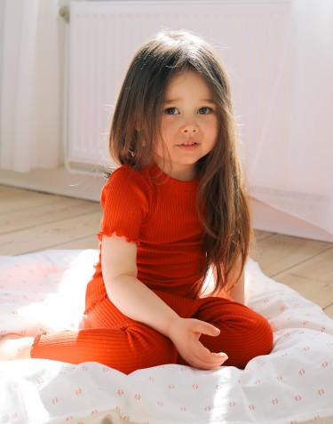 Leggings i merinoull med krusade kanter för barn