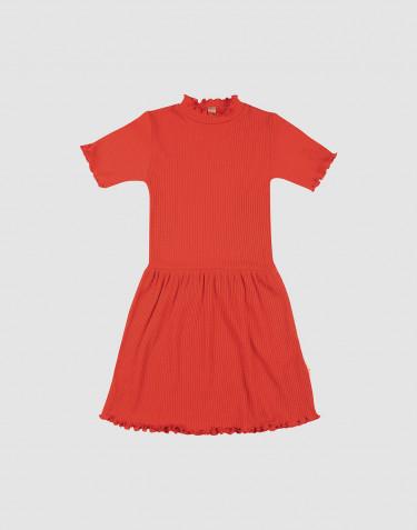 Barnklänning i merinoull med krusade kanter