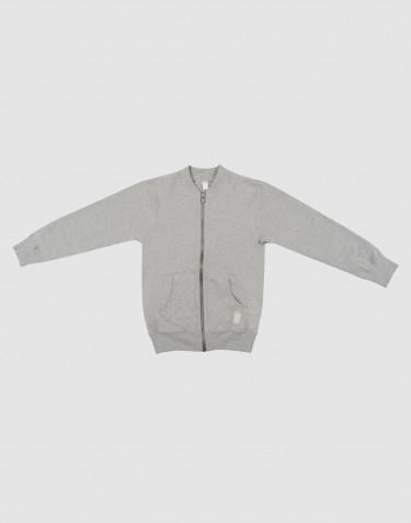 Sweatshirt med blixtlås för barn gråmelerad