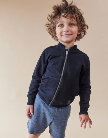 Sweatshirt med blixtlås för barn svart