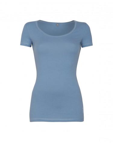 Dam-t-shirt i skön tunn och mjuk bomull/elastankvalitet blå