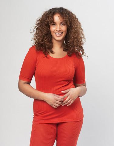 T-shirt för dam i ribbstickad merinoull - röd