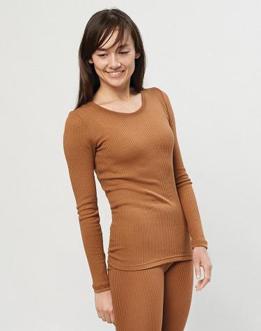 Långärmad tröja för damer - 100 % ekologisk merinoull, karamell