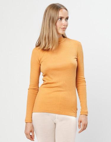 Tröja i merinoull med hög hals ribbad gul