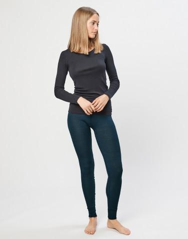 Ribbade leggings i merinoull för dam Mörkt petroliumblå