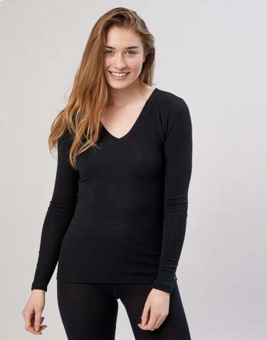 Långärmad tröja med v-ringning svart