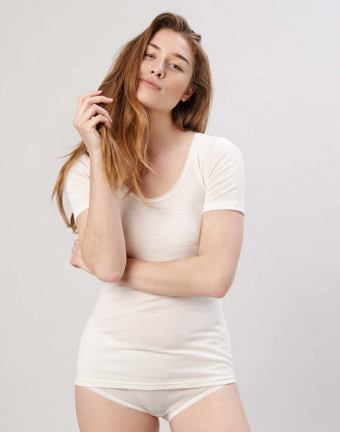 T-shirt Dam i merinoull natur