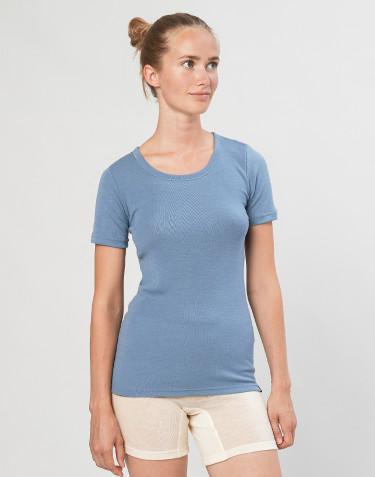 T-shirt i merinoull för dam blå