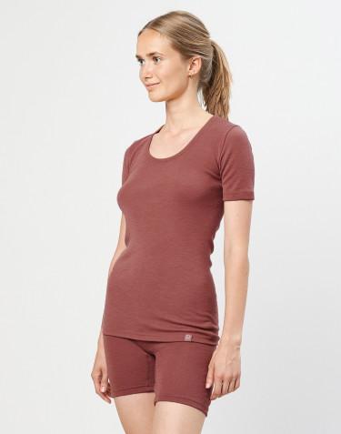 T-shirt i merinoull för dam rouge