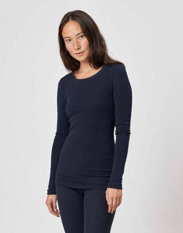 Långärmad tröja i merinoull för dam