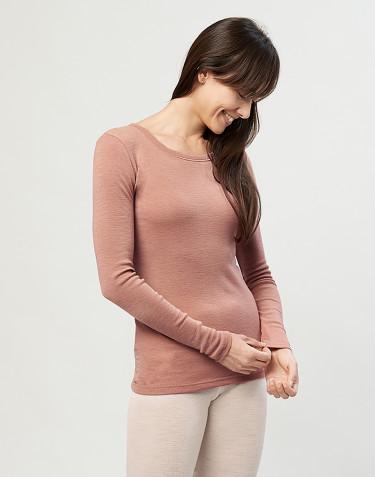 Långärmad tröja för dam - 100% ekologisk merinoull, puder