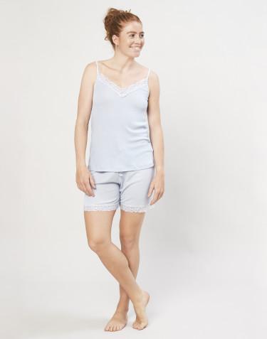 Pyjamasshorts för kvinnor i ekologisk ull/siden ljusblå