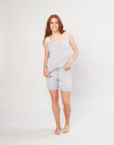 Pyjamasshorts för kvinnor i ekologisk ull/siden grå