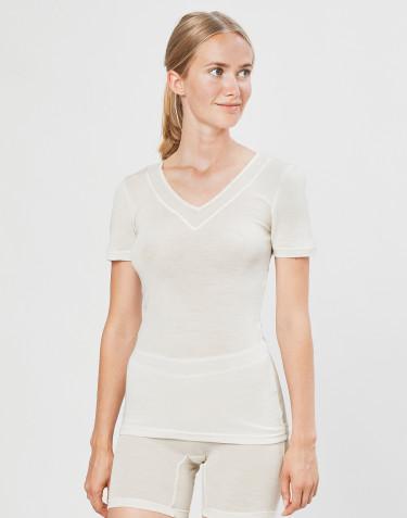 T-shirt dam i ull/siden natur