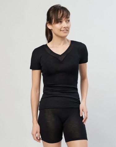 T-shirt dam i ull/siden svart