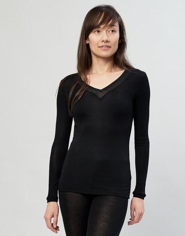 Långärmad topp i ull/siden svart