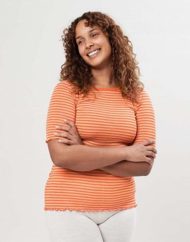 T-shirt för dam i merinoull/siden med krusade kanter