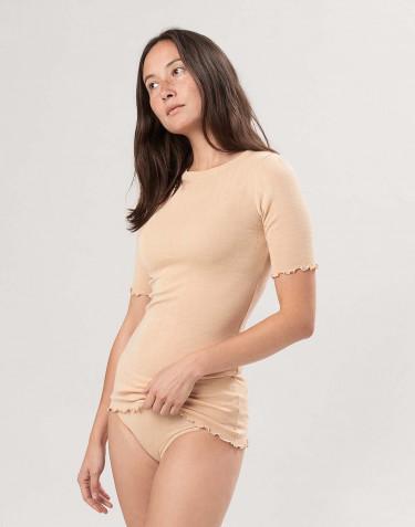 Pointelle t-shirt i merinoull/silke för dam