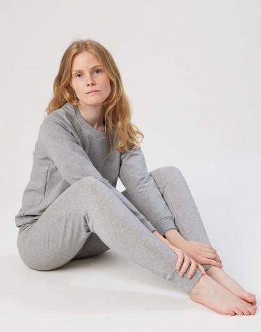Sweatshirt för dam i bomull gråmelerad