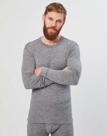 Långärmad herrtröja i merinoull grå