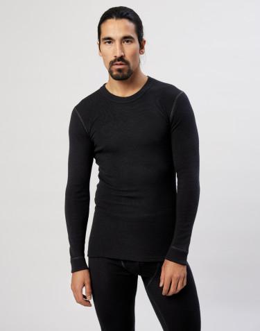 Långärmad herrtröja i merinoull svart